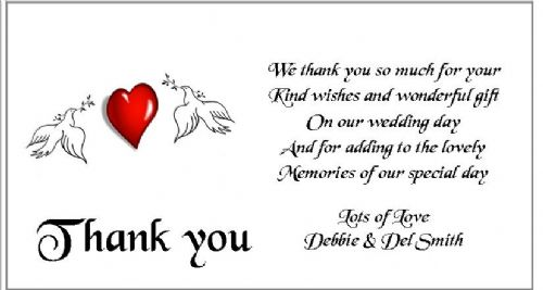 Thank You Gift Cards Wedding Personalised -  Doves and Heart  design x 10